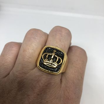 Vintage Gothic Golden Stainless Steel Crown Mens Ring