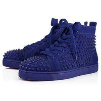 PEAPON Christian Louboutin Louis Spikes Men's Women's Flat Atlantic/Atlantic Mat Suede 3101212U190
