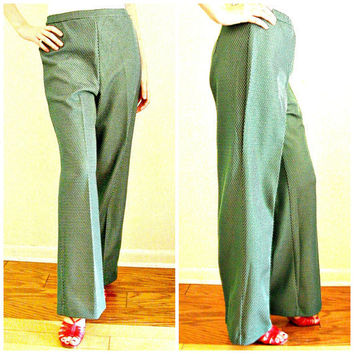 1970s Pants /  flared pants / womens green pants / polka dot pants / 70s trousers /  high waist pants  / medium
