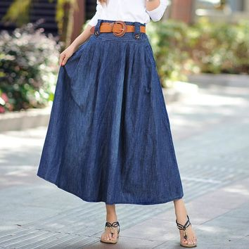 Women's Fashion Plus Size Denim Summer Pleated Prom Dress [10364120908]