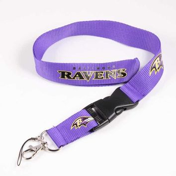 Baltimore Ravens Team Logo Neck Strap Lanyard Safety Breakaway For Mobile Phone USB Holder ID Name Badge Holder Keys Metal Clip