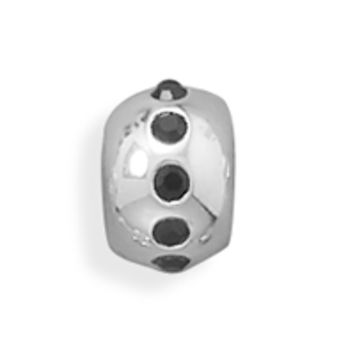 Polished Bead with Black Crystal Center