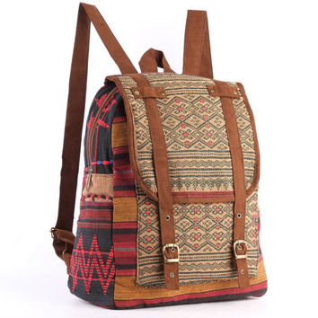 Authentic Ethnic Hand Weaving Daypack School backpack Folk Woven Textile Vintage Leisure Rucksack