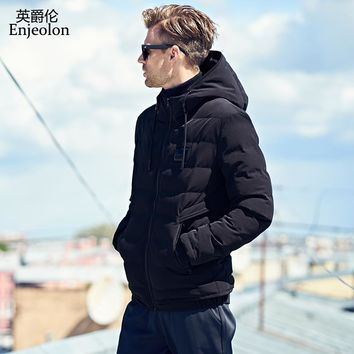 Cotton Padded Jacket Men black Parka hoodies collar coat Thick Quilted fashion Coat Men