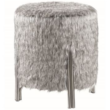Grey Faux-fur Contemporary Modern Round Ottoman | Overstock.com Shopping - The Best Deals on Ottomans