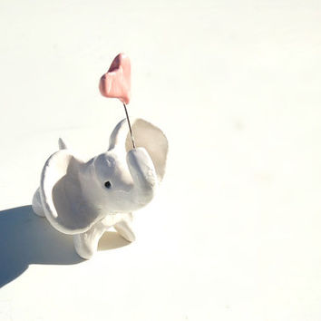 Miniature elephant holding pink heart / Figurine / Ceramic Sculpture / Gift Ideas
