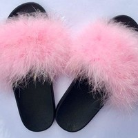 Kandy Pink Faux Fur Fuzzy Slides