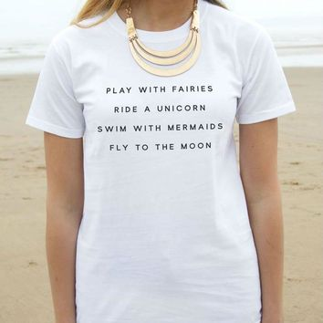 Play With Fairies Ride A Unicorn With Mermaids Women T shirt Cotton Casual Funny Shirt For Lady Black White Gray Z-172