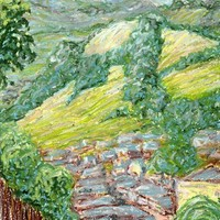 Newtown Hills: Original Plein Air Oil Pastel Painting by A.Cook