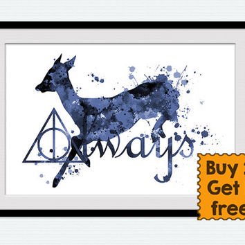 Harry Potter Always art print Harry Potter watercolor poster Always Harry Potter decor Home decoration Gift idea Kids room wall decor W694