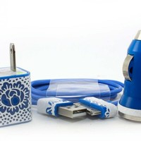 Vintage inspired White lace iphone charger set - wall & car charger compatible with iphone 5