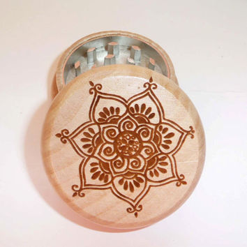 Wood burned herb grinder solid oak / CNC &  Magnetic Inside  / Mandala Lotus Flower