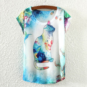 White Short Sleeve Cat Print T-Shirt