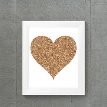 Rose Gold Glitter Heart, Glitter Heart, Heart Art, Rose Gold Art, Rose Gold Decor, Baby Room Art