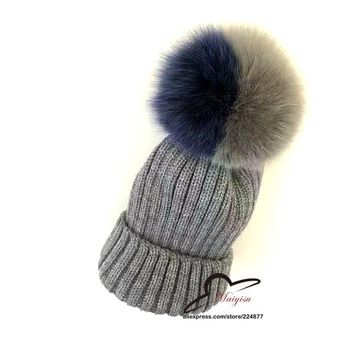 Real fox fur ball hat Pom poms cap knitted cotton beanies Warm Winter Fur Genuine Fur Cap Knitted Skullies Beanies for female
