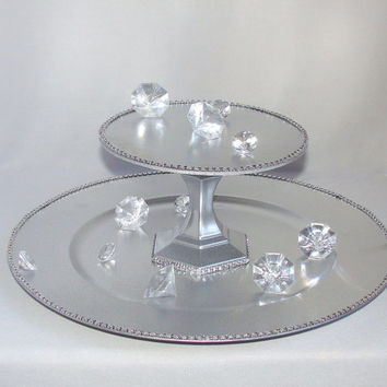Silver Cupcake stand, Cake stand, Candy stand, cupcake platter, Silver Display stand, Cupcake tower, Bridal showers decor, Quinceanera decor
