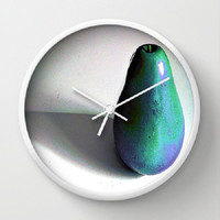 Groovy Pear - turquoise, purple - 10 Inch Round Wall Clock, 3 Frame Colors, kitchen, newlyweds, new home, fun design - Made To Order - GP#79