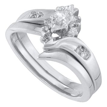 10kt White Gold Women's Marquise Diamond Bridal Wedding Engagement Ring Band Set 1/6 Cttw - FREE Shipping (US/CAN)