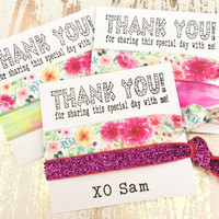 Girls Birthday Party Favor | Thank You Birthday Party Hair Tie Favors | Teen Tween Birthday | Girls Birthday | Personalized Favors