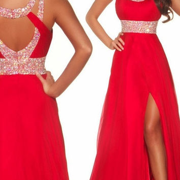 2014 Long Red Chiffon High Slit Evening Gown Ball Prom Bridesmaid Dresses Wedding Gown Custom Made = 4807063492