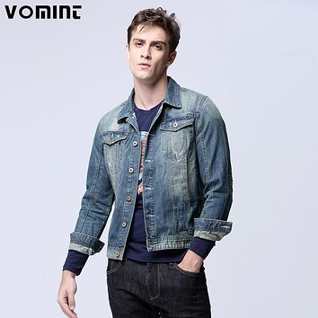 Men's Denim Jacket Coat Classic Trucker Jacket with Dual Flap Chest Pockets Button