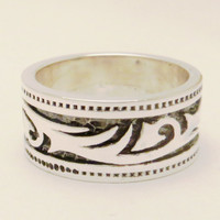 unisex ring_ man ring_ woman ring _ silver plated_ aged silver _ beatiful tribal ring
