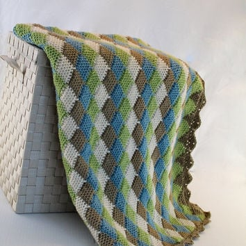 Afghan - Handmade Crochet Blanket - Tunisian Throw