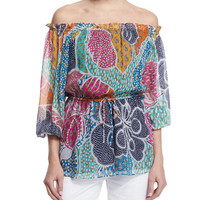 Diane von Furstenberg Camila Flower Power Dream Silk Blouse