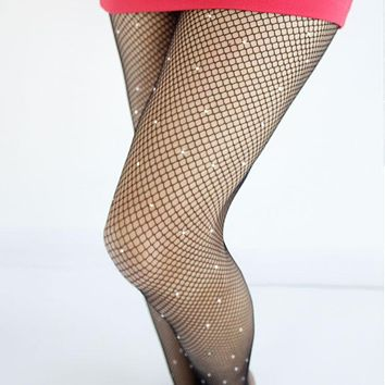 Sexy Diamond Womens Lady Girls Black Sexy Fishnet Pattern Jacquard Stockings Rhinestone Pantyhose Tights  Styles Woman tt041