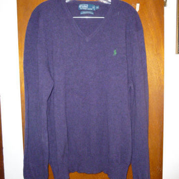 Mens Polo Ralph Lauren Dark Purple Lambswool V Neck Sweater XL