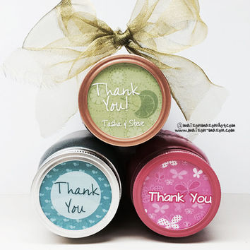 "Thank You Stickers Labels for Mason Jars and  More - Assorted Colors/ Designs Available - 2"" & 2.5"""