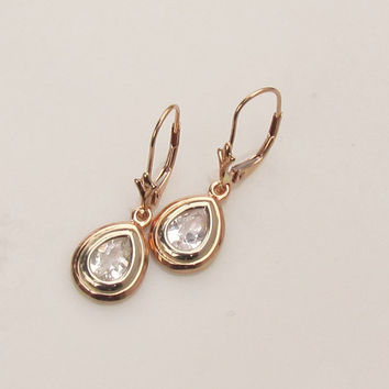 Pear Shape White Sapphire 14k Rose Gold and 14k White Gold Dangle Earrings For Her