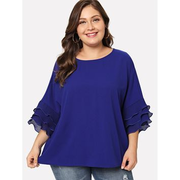 Plus Size Purple Layered Pleated Ruffle Trim Batwing Top