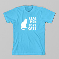 Funny TShirt, Real Men Love Cats TShirt, Animal Tee, Geek, Christmas Gift Husband, Boyfriend, Dad, Fathers Day, Brother, Son , Plus Size