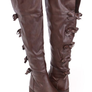 Brown Bow Tie Back Riding Boots Faux Leather