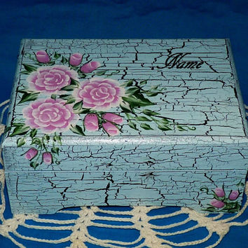 Custom Hand Painted Jewelry Box Wood Jewelry Organizer Holder Chest Pink Roses Distressed Personalized Wooden Keepsake Gift Blue Shabby Chic