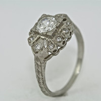 14kt White Gold and Diamond Edwardian Style Hand Engraved Engagement Ring with .50ct White Sapphire Center