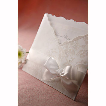 Personalized Flora Style Tri-folded Wedding Invitation With White Bow (Set of 50)