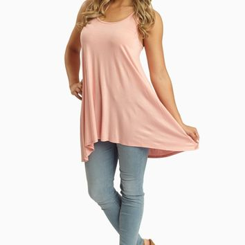 Pale Pink Lace Accent Racerback Tunic