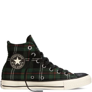 Converse Chuck Taylor All Star Tartan Plaid Green Hi Top