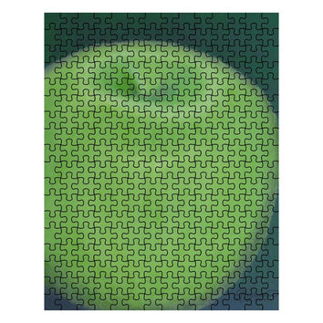 Granny Smith Apple - 252 Piece Puzzle of Green Apple Food Acrylic Paint Monochrome Fine Art