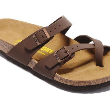 Birkenstock Men Women Brown Casual Sandals Flip Flops
