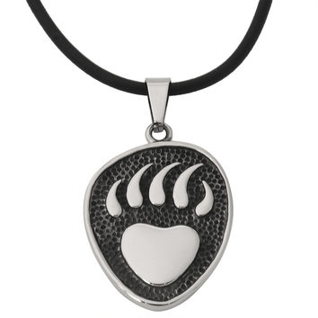 Bear Paw Stainless Steel Pendant Cord Necklace