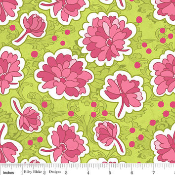 1/2 yard Green Floral, Hot Pink Flowers, Bohemian Festival Cotton Fabric, Riley Blake Designs by Lila Tueller