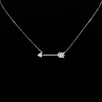 Silver Arrow Necklace with Crystals