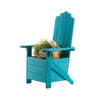 Blue Rustic Charm Wooden Adirondack Chair Planter Flower Pot Holder