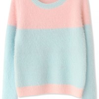 Sweet Pink Light Blue Long-Sleeves Mohair Knit Sweater - OASAP.com