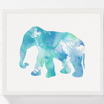 Elephant Art Print, Baby Boy Nursery, Boys Room Decor, Nursery Wall Decor, Elephant Painting, Watercolor Elephant, Elephant Poster