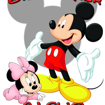 Personalized Big Brother Mickey Mouse Shirt with Baby Minnie Mouse Very Cute! #3
