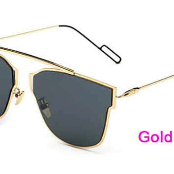 Flat Panel Lens Sunglasses  Gold F Black